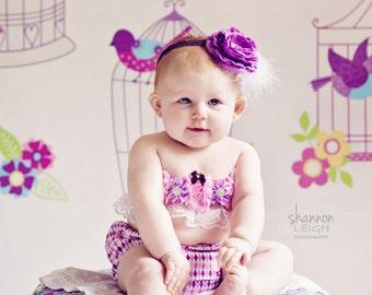 Baby Girl Diaper Cover and Headband Set Newborn Photo Prop Birthday Cake Smash Pink Purple Diamonds Diaper Cover OTT Headband Flower Marabou