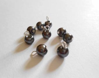 Dark Gray Glass Pearl Dangle Beads