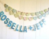 Name Banner, Wedding Banner, Wedding Decoration, Garland, Bunting, Map Theme, Vintage Map, Travel, Destination Wedding, TWO NAME BANNER