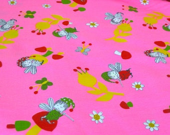 "Vintage Fabric -  Fairies & Mushrooms - Hot Pink - 44""W - Juvenile - fabric by the yard - material - textile - sewing supply - Retro"