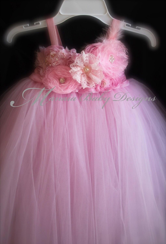 Pink Flower Girl Tutu Dress Pink Baby Dress Pink Vintage