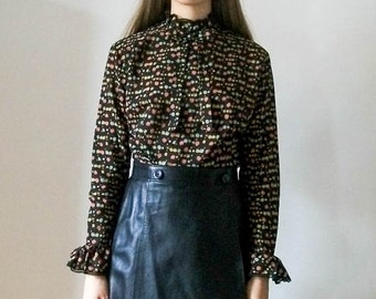 "Vintage 70s black ""Dark Florals"" Victorian style blouse with floral print size S"
