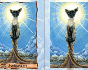Siamese Cat Print, Judgement Tarot Card, Cute Cat Decor, Large Wall Art, Animal Illustration, Pet Lover Gift, Blue Sky, Animism Tarot Deck