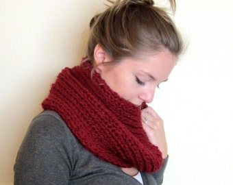 chunky knit cowl scarf, red infinity scarf, dark red circle scarf