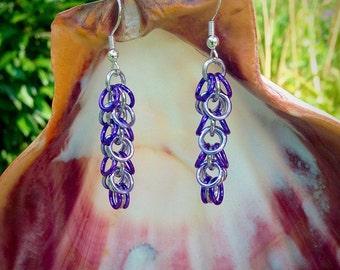 Twilight Earrings, Purple Earrings, Shaggy Earrings,  Lavender Earrings