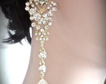 Bridal jewelry - Long gold rhinestone earrings - Chandelier - Brides earrings - Statement earrings - Pageant earrings - Crystal earrings -
