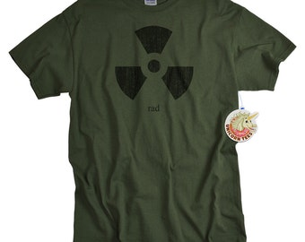 Rad radiation symbol T shirt nuclear energy physics women men youth kids science geek tshirt funny geekery isotope particles gift husband