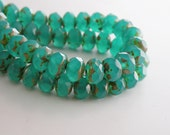 Emerald Green Opal Picasso finish fire polished Czech faceted milky glass rondelle beads 8x6mm NR-567