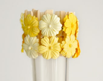 Yellow Ombre Flower Clips for Spring Weddings Birthday Party Bridal or Baby Shower Decoration Place Card Holder Wish Clips Set of 12
