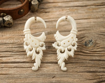 Bone Fake Gauges Earrings Bone Flower Circle Drops Tribal Earrings - FG004 B G1