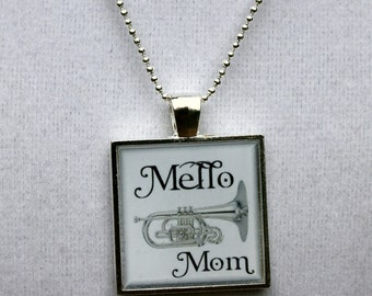 Marching Band Jewelry, Mello Mom Square Resin Pendant, Mellophone Jewelry, Band Mom, Mellophone Parent, Mellophone Pendant