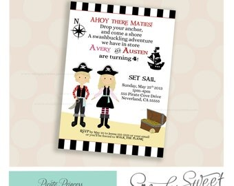 Princess and Pirate Birthday Party DIY printable PDF Invitation