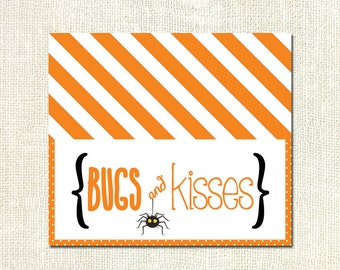 Bugs and Kisses Halloween Favor Tre at Bag Topper Printable ...