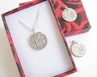 Silver Initial Pendant , Monogram Pendant , Personalized Wax seal pendant , PMC Letter medallion , Initial pendant , Custom Monogram pendant