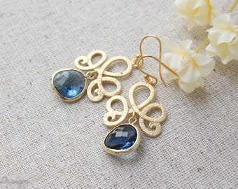 Sapphire Blue Earrings, Blue glass jewelry in gold, September Birthstone, Blue bridal earrings, Something Blue, Bridesmaids gift