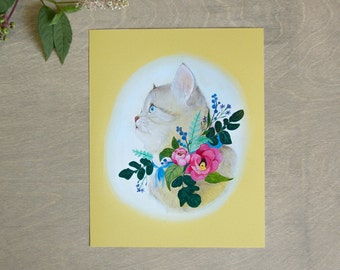 Kitten Botanical Art Print 8x10 Colorful Nursery Decor