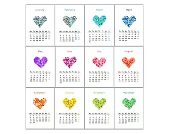 PDF printable calendar 2017 - 14 pages with colorful hearts