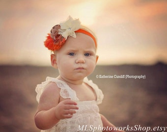 Vintage Style Baby Girl Headband for Autumn - Ivory, Tan & Pumpkin Coloured Hair Bow for Babies, Toddlers, Girls - Perfect for Fall Photos