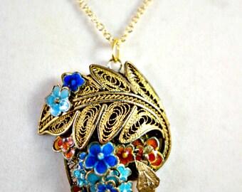 Vintage Chinese Enamel Flower Pendant Chinese Export Pendant, Filigree Gold Wash Silver Pendant