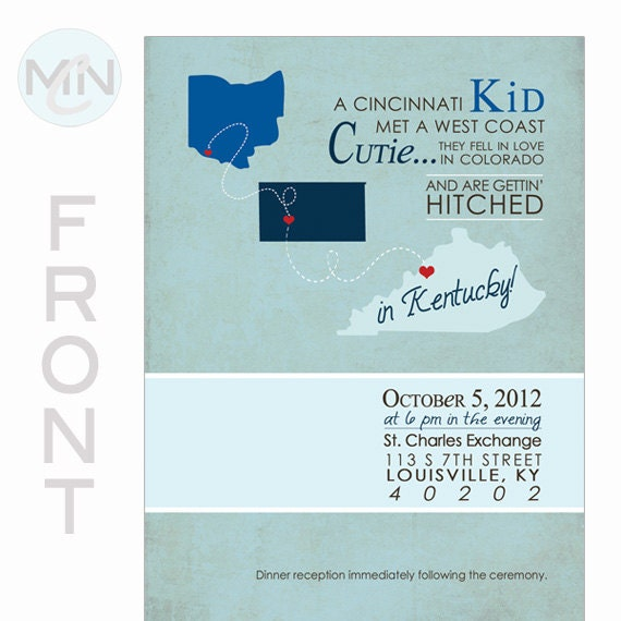 Vintage Chic Wedding Invitation . Save the Date . State Outline. Cards & Envelopes Included.