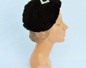 Vintage designer hat, 1950's black velvet hat with rhinestone embellishment by Irene of New York