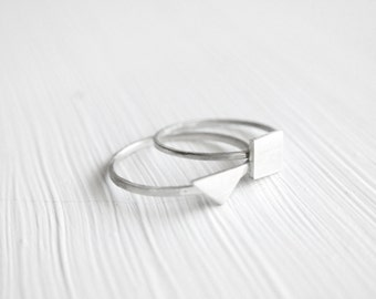 You Pick Two -- Tiny Rings in Silver Stackable Geometric -- by anilani
