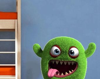 Fuzzy Monster Wall decal for kids - Vinyl Decals Decor Art Sticker Removable Mural Modern B126