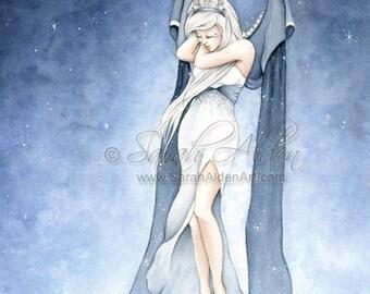 Fairy Art - Fantasy Angel Painting - Inspirational Dream Print - Fashion Illustration Blue Wings - Sarah Alden