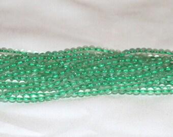 "Green Fluorite 4mm Round Gemstone Bead - 16"" Strand"