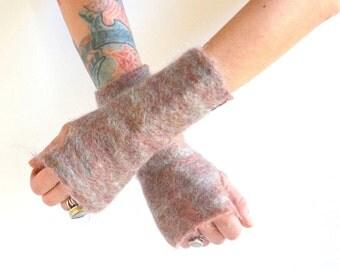 Felted Fingerless Gloves - Felted Mohair Gloves - Fingerless Gloves - Pink Gloves