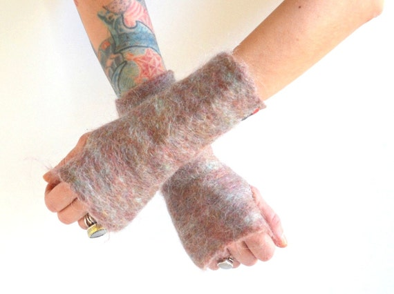 Felted Fingerless Gloves - Felted Mohair Gloves - Fingerless Gloves - Pink Gloves