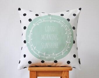 """Geometric Decorative Pillow, Modern Kids Pillow, Nursery Pillow, Throw Pillow, Cushion Cover, Black Mint 16"""" x 16"""""""