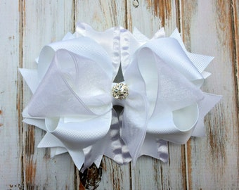 Girls hair bows, Wedding Hair Accessory, Flower girl hair bow, Pageant, White Hair bow, Stacked Hair Bow Big hair bows Boutique hair bow
