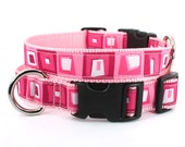 Colorful pink dog collar , seven sizes to choose from : xxs - xl Hopscotch - At the Fair. bubblegum pink
