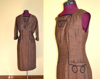 1950s Vintage Brown Sheath Dress with Matching Bolero Jacket size S M bust 36