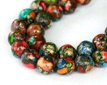 Multicolor Impression Stone Beads, 10mm Round - 15 inch strand - eGR-IJ010-10