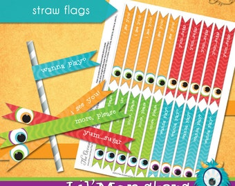 Lil' Monsters Straw Flags • PRINTABLE Birthday • by The Occasional Day