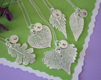 Set of 5 Silver Leaf Personalized Bridesmaids Necklaces, Bridesmaid Gifts, Real Leaf, Thank You Card, Initial Jewelry, Sterling Silver Charm