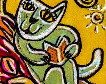 Funny Cat Print, Whimsical Cat Art, Folk Art Cat, Kids Room Decor, Nursery Room Decor, Cat Art, Happy Cat Reading by Paula DiLeo_121013