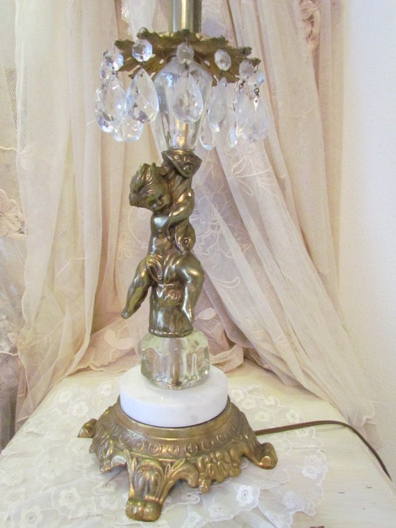 Vintage Cherub And Marble Lamp With Crystal Prisms
