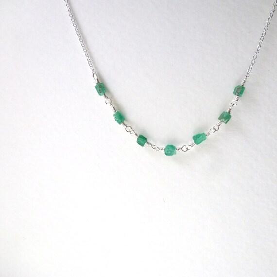 Raw Emerald Necklace Precious Gemstone Raw Stone Jewelry May Birthstone