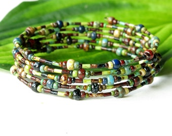 Stacked beaded bracelets  - Multicolor Picasso Czech glass stacking bangles wrap 5x