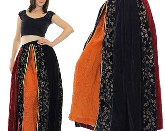 velvet patchwork skirt Boho Maxi Peasant color block Vintage 1970s Bohemian Festival gold metallic floral Medium