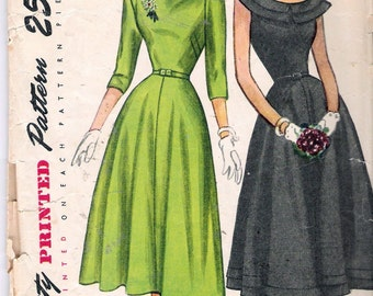 Vintage 1948 Simplicity 2325 One Piece Dress Double Bertha  Lowered Neckline Sewing Pattern Size 11 Bust 29""