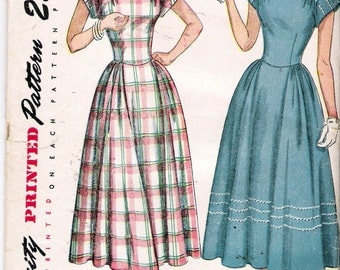 Vintage 1949 Simplicity 2406 Cap Sleeved Dress Sewing Pattern Size 14 Bust 32""