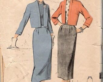 "Vintage 1954 Advance 6667 Bolero Suit Sewing Pattern Size 18 Bust 36"" Waist 30"""