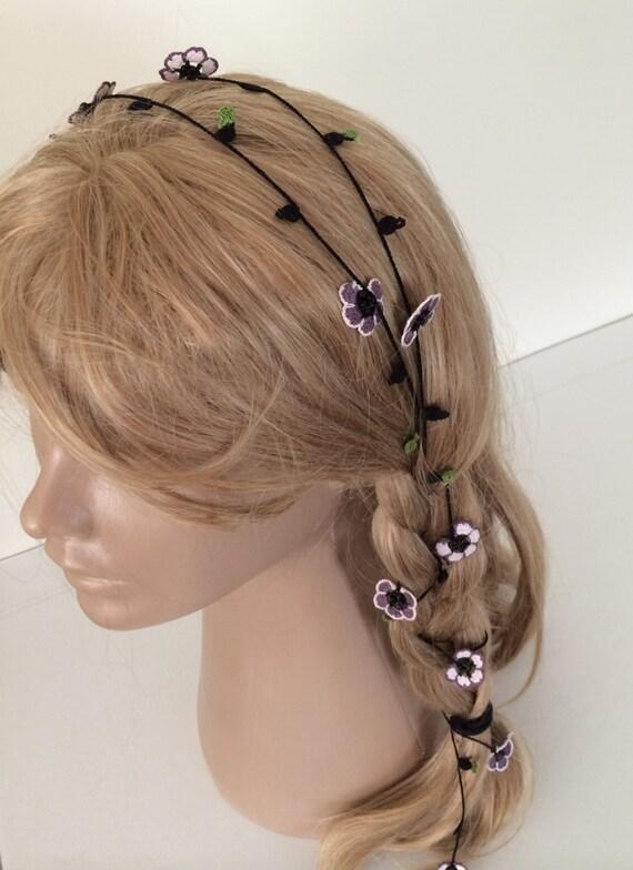 Bridal Hair Wrap Crochet Hair Accessory Beaded Flower Hair