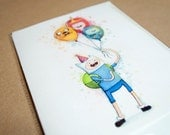 Adventure Time Birthday Card Finn with Balloons, Jake BMO Princess Bubblegum Folded Greeting Card, Personalized Text