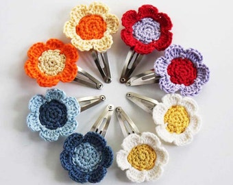 Crochet Flower Snap Hair Clips - Set of 2 only