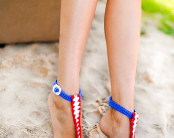 T-strap Buckle Barefoot Sandals, Nude shoes, Foot jewelry, Bridal shoes, Sexy, Yoga, Anklet , Bellydance, Red White Blue, Beach Pool
